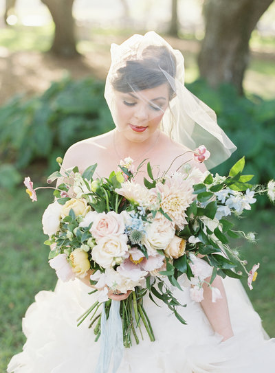 RiverOaks Charleston Bride with Colorful Spring Bouquet