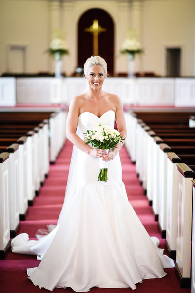 Bridal Portrait at First Presbyterian in Biloxi, MS, Mississippi Wedding