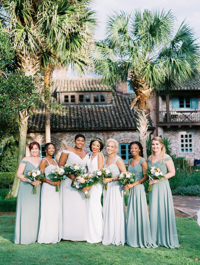bride and bridesmaids at her casa feliz wedding