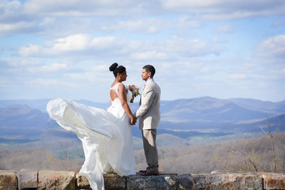Bride and Groom in Shenandoah National Park Wedding Day