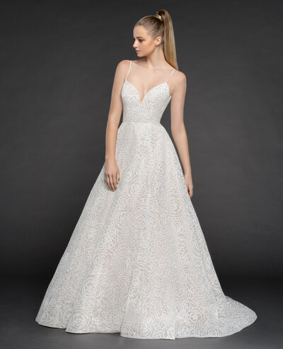 Blush by Hayley Paige bridal gown - Ivory sugar rose caviar ball gown, spaghetti strap bodice with sweetheart neckline, full caviar skirt with cashmere lining.