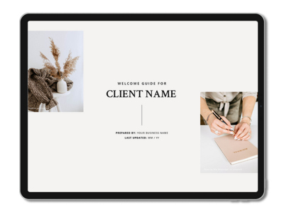 One6Creative_Client Welcome Guide Landscape iPad Mockup