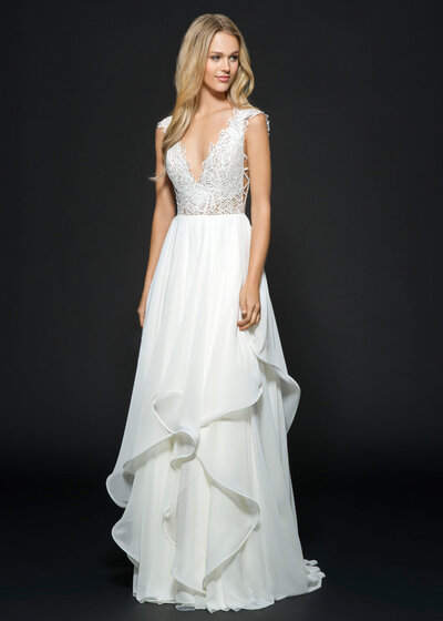 Hayley Paige bridal gown - Ivory chiffon A-line bridal gown, lattice and rose cut lace bodice with crisscross cut-out detail, V-neckline and subtle cap sleeve, soft flounce skirt with thin horsehair edging.