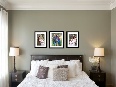 Maternity Portrait Wall Gallery hanging over a bed
