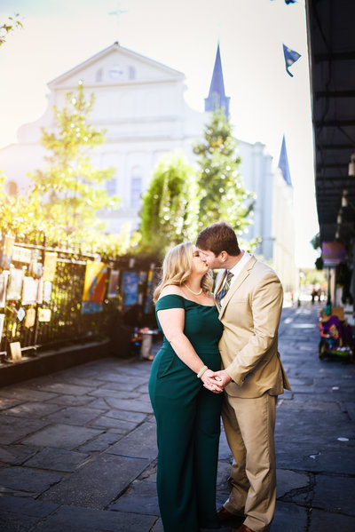 Beautiful engagement Photography: Couple in front of St. Louis Cathedral, New Orleans, NOLA Wedding Photographer