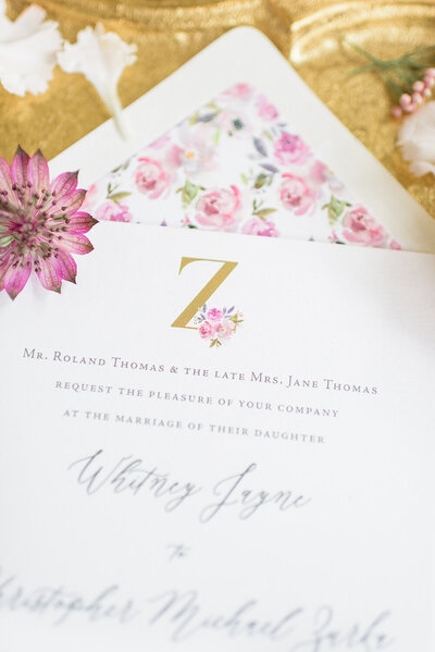 custom wedding monogram floral envelope liner