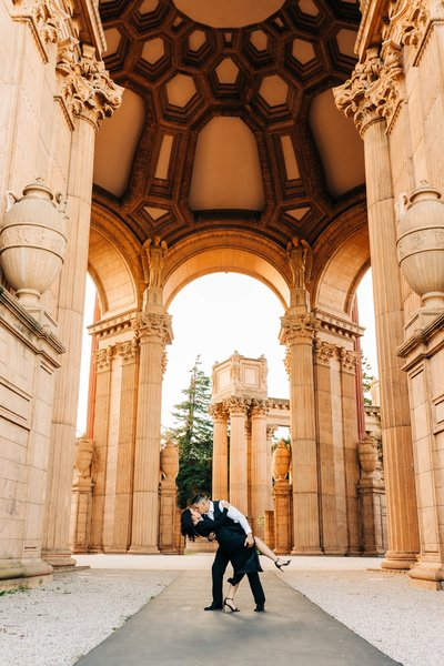 Newly engaged couple had their engagement photos taken at San Fransisco's Palace of Fine Arts by Karissa Wright.