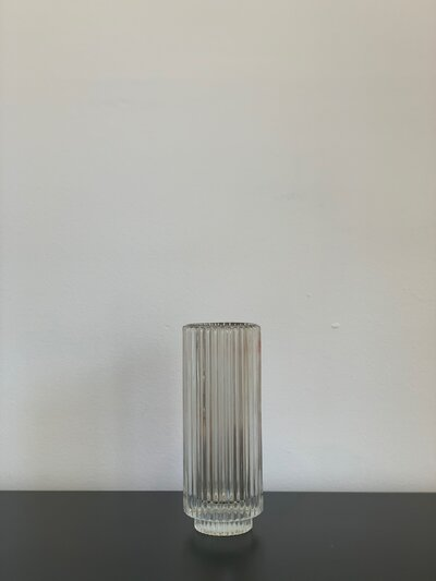 Clear Pleated Glass Votive Candleholder - Tall