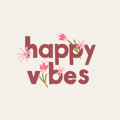 Happy Vibes illustration and lettering by Jen Pace Duran of Pace Creative Design Studio