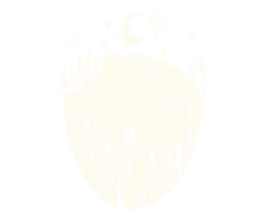 hand drawn mountains and stars with moon