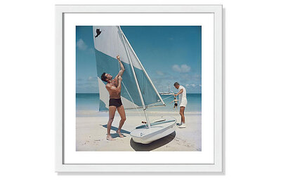 Slim Aarons Boating Art Print Framed Coastal Decor