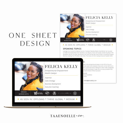 Taaenoelle + Co. One Sheet Design | Custom Design