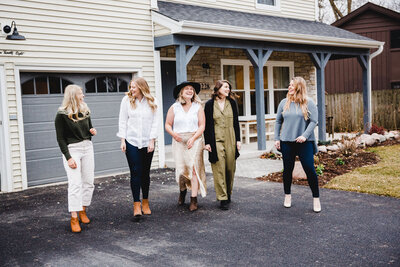 personal branding team and stuff picture, woman walking