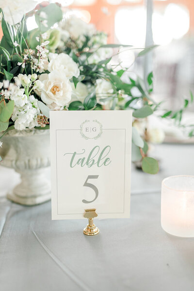 wedding reception table number mongram wreath