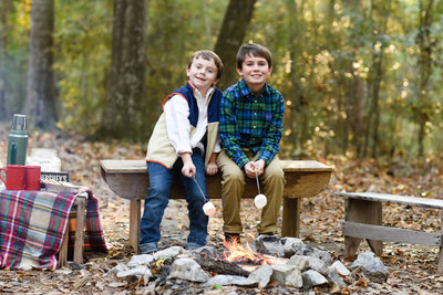 Beautiful Mississippi Children's Photography: Brother's sit around campfire roasting marshmallows, campfire session
