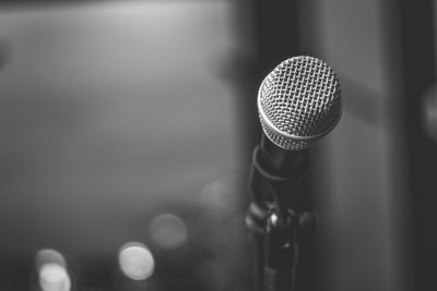 black-and-white-photo-of-microphone-2293546