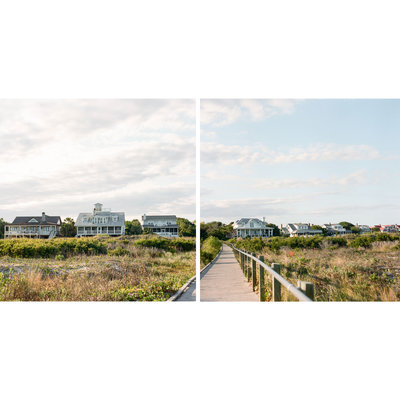 A panoramic diptych of beach houses and a boardwalk on Sullivan's Island Beach at Station 19