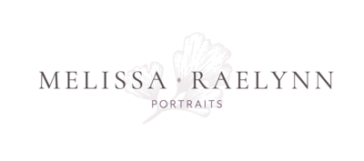 Melissa Raelynn Photography Logo with Dark Purple Flower