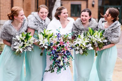 Bridal party portraits in St. Louis Missour for a beautiful winter wedding