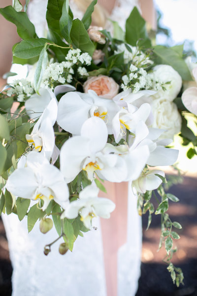 Beautiful white orchid bridal bouquet