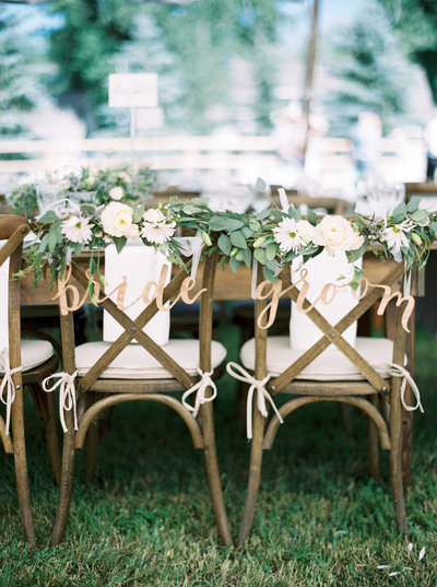 Bride & Groom Chair Signs for Montana Ranch Wedding