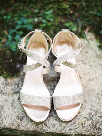 Gold Wedding Shoes for Bride at Old Edwards Inn Wedding