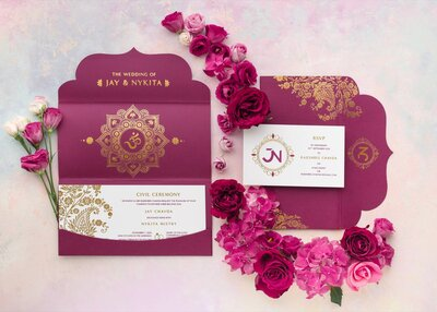 Traditional Indian wedding invitation suite