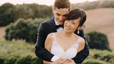 Newly married couple photographed at California wedding