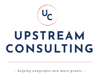 A dark blue and coral alternate logo for Upstream Consulting with monogram.