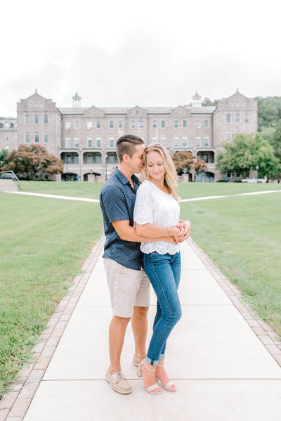 Bride and groom pose at Mount St. Mary's University engagement session