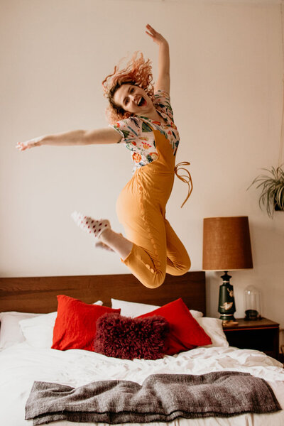 jumping for joy - happy and bright