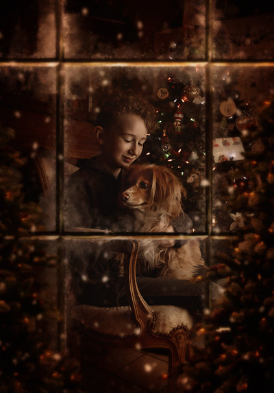 Boy and Dog-Christmas Window-DFW