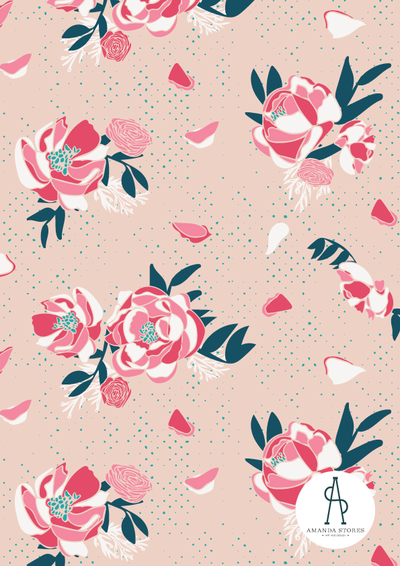 Red and pink peony on cream textured background pattern