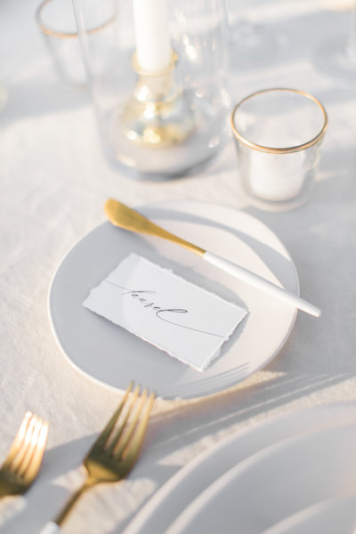 Wedding place setting at The Lucy Philadelphia wedding