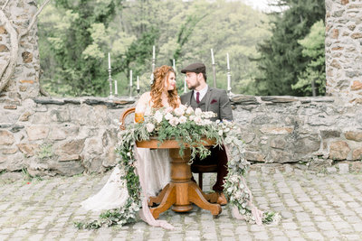 Bride and groom at their sweetheart table in lancaster, pa