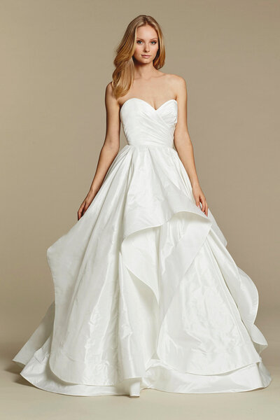 Blush by Hayley Paige bridal gown - Ivory draped taffeta bridal ball gown, strapless sweetheart crossover bodice, cascading taffeta skirt with horsehair edging.