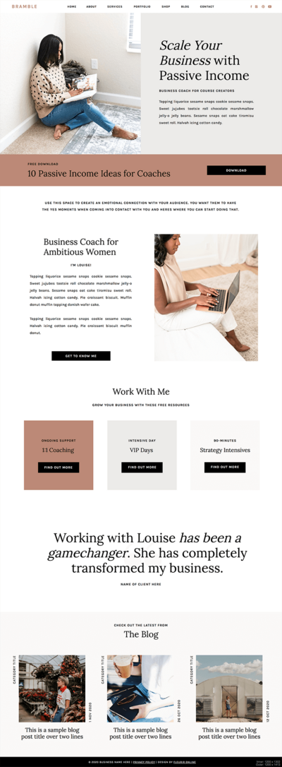 Angelica Showit website template for coaches, creatives and photographers