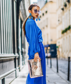 classic blue with handbag