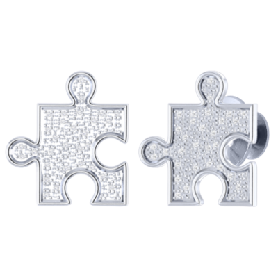10K white gold pave diamonds autism puzzle piece lapel pin