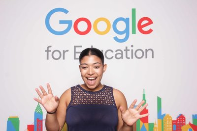 girl smiling at the Google for education convention