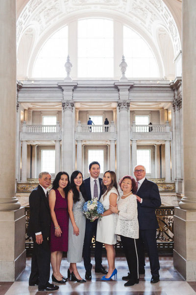 family group formal photo at sf city hall