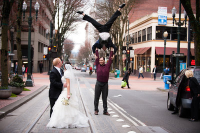 Bride-and-Groom-surprised-by-street-performers-Portland-OR