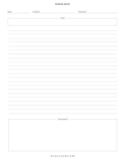 Sermon Notes Freebie