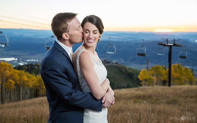 Beautiful-Wedding-Portrait-at-Sunset-Four-Points-Lodge-Steamboat-Springs-during-Fall