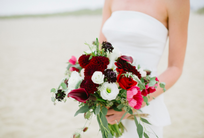 Cape Beach Bride Red and Maroon Bridal Bouquet