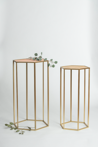 Gold Geometric Pedestals Rental