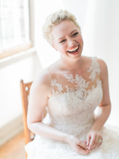 Smiling bride christa o'brien photography