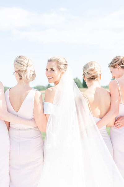 bridesmaids dresses in blush pink