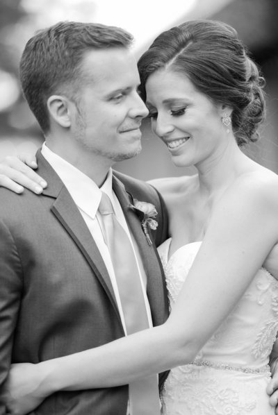 black and white photo of bride and groom in Dripping Springs Texas