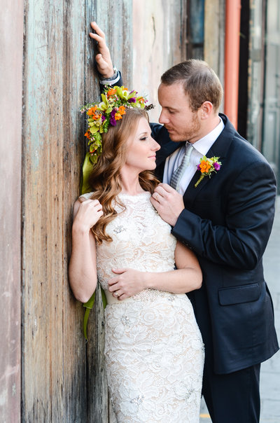Bride with floral crown in front of Preservation Hall, New Orelans, New Orleans Wedding